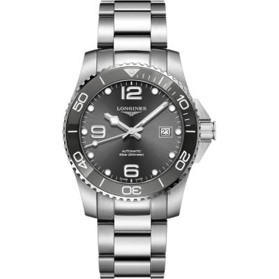 LONGINES 浪琴 深海征服者浪鬼陶瓷潛水機械錶-灰x銀/41mm L37814766