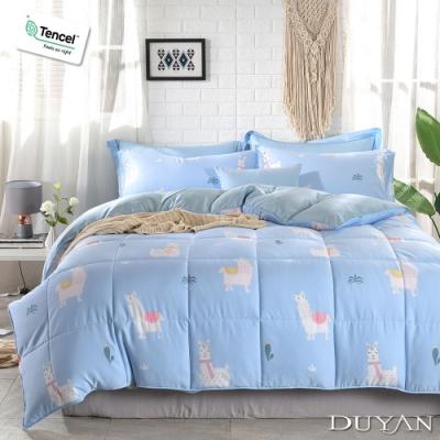 DUYAN 竹漾 雙人加大兩用被床包四件組 藍天羊駝