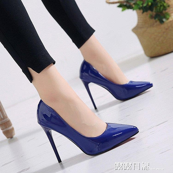 10cm細跟高跟鞋女尖頭單鞋淺口酒紅色12cm超細高跟鞋性感大碼 露露日記