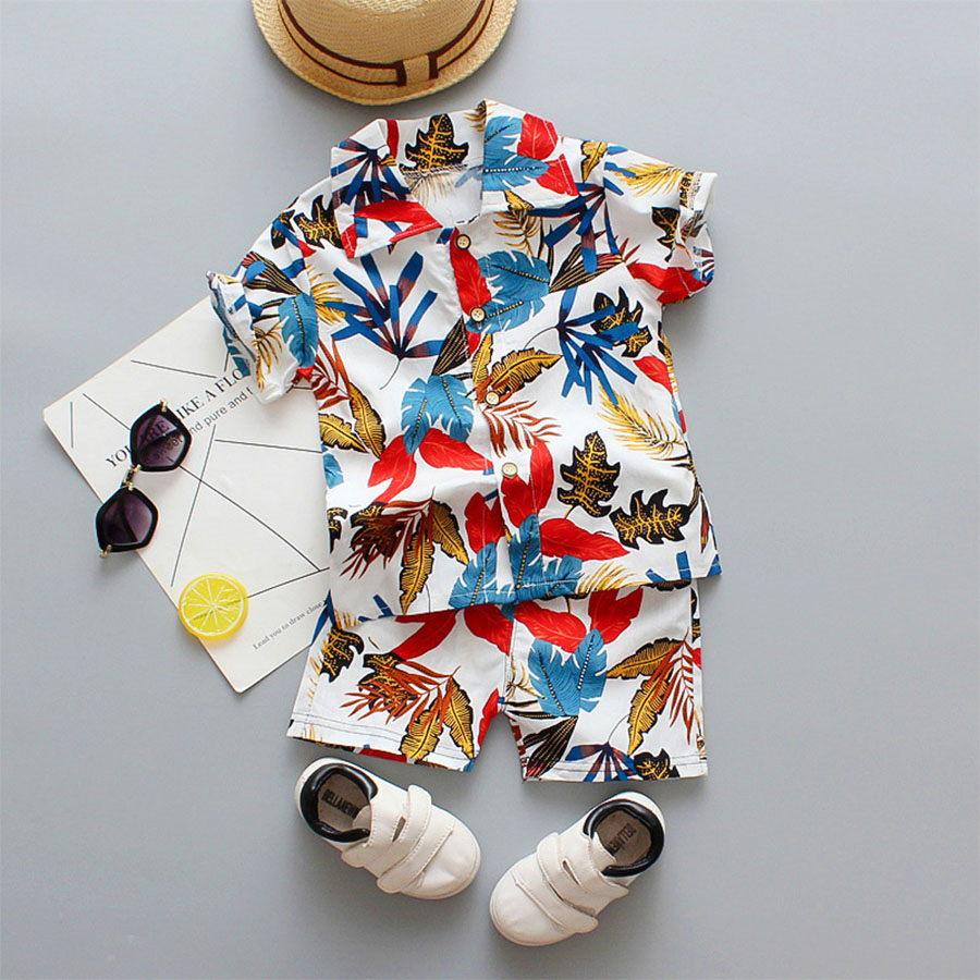 套裝.彩色樹葉花襯衫短袖短褲兩件組.童裝