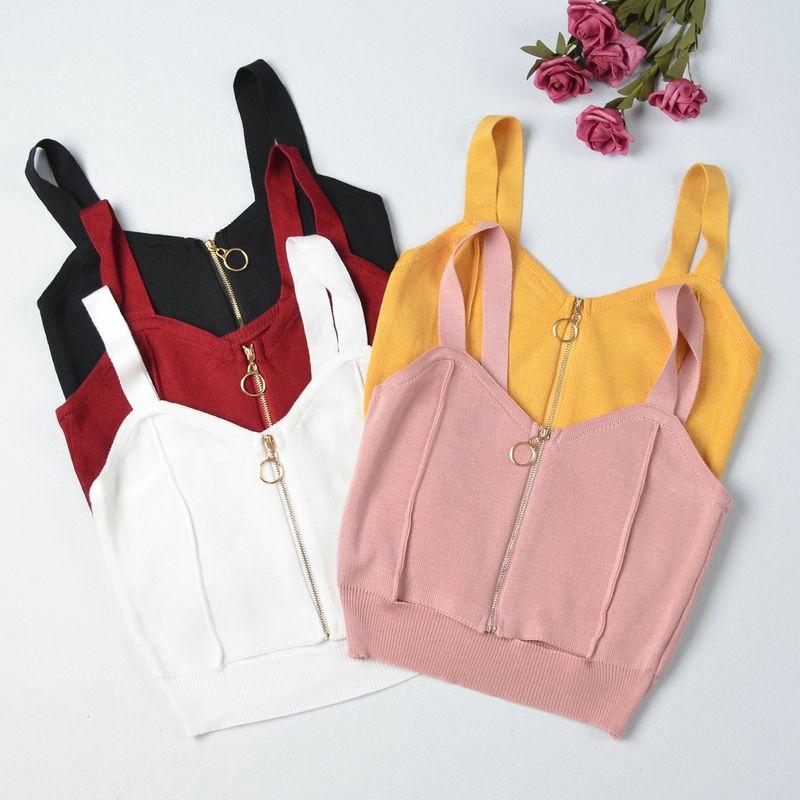 [現貨] 小心機外穿針織背心 拉鏈V領吊帶衫女 性感美背上衣內搭打底小背心短款露臍上衣
