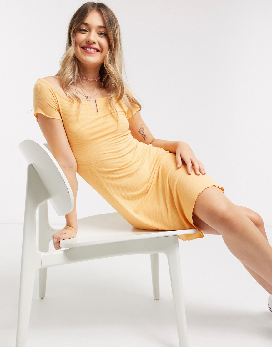 Pimkie notch front jersey mini dress in peach-Orange