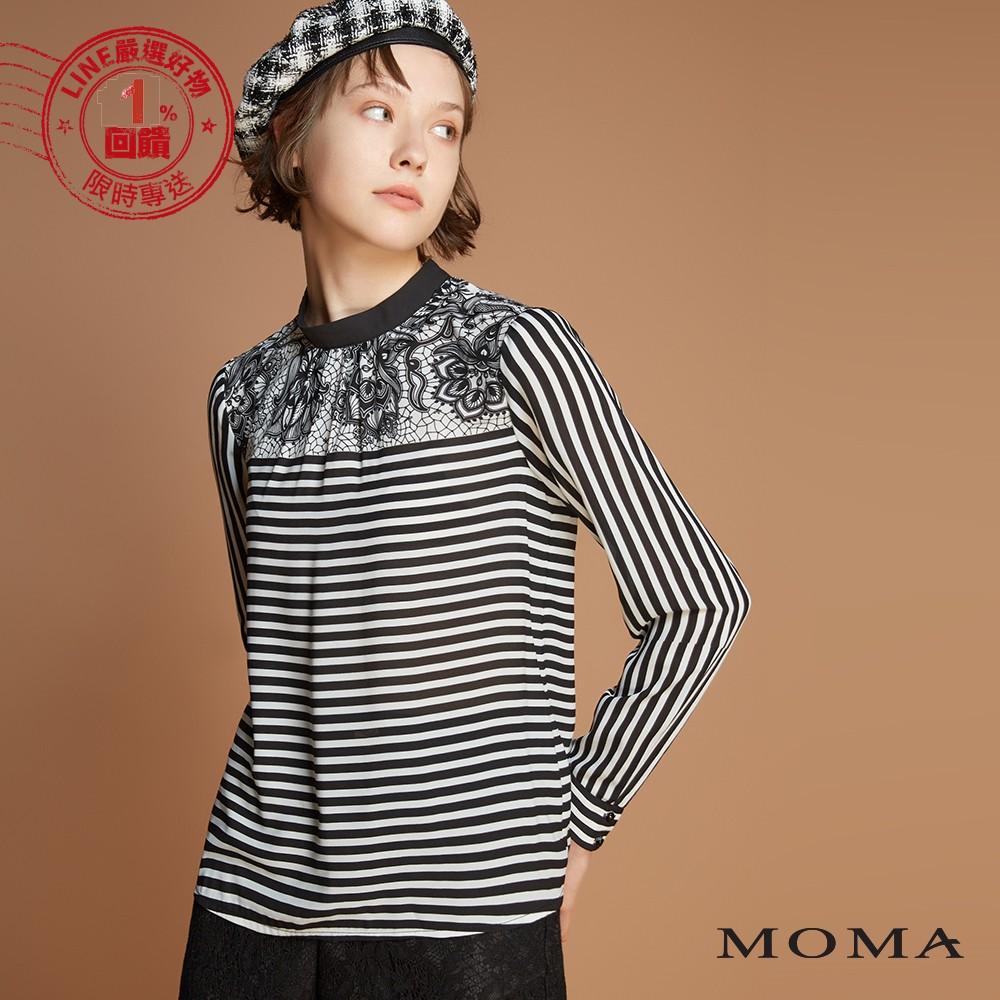 MOMA(92G065)蕾絲條紋印花平織上衣
