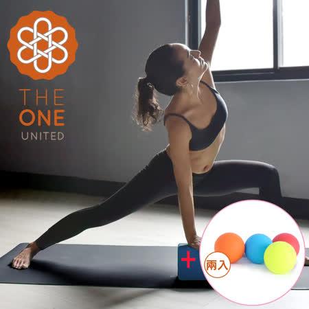 【The One】天然橡膠PU 極致止滑瑜珈墊(兩色任選)+天然矽膠穴道筋膜球/瑜珈按摩球(混色二入)