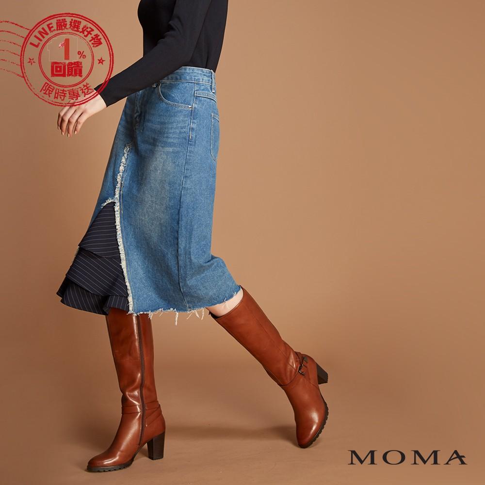 MOMA(92S002)拼接荷葉牛仔裙