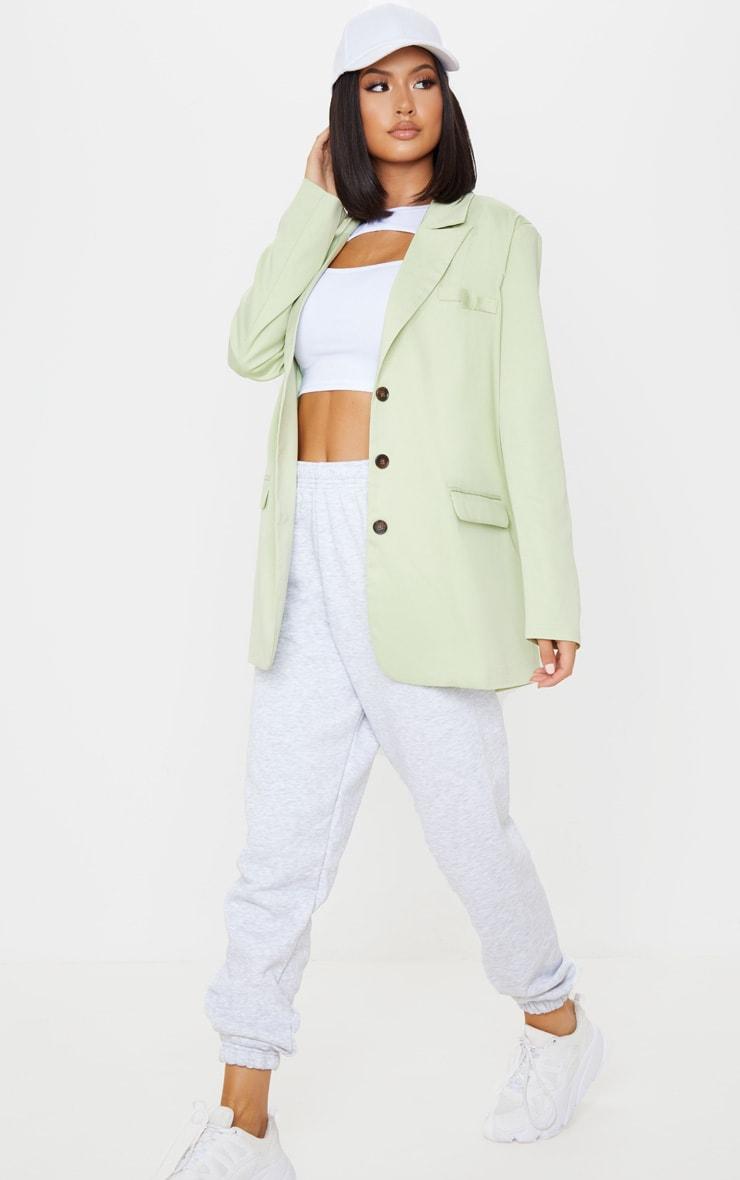 Pale Green Oversized Woven Blazer