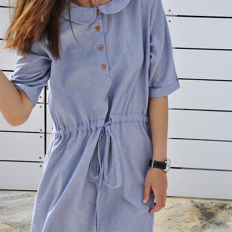 色織格紋海軍領五分袖綁帶短洋裝 慵懶風圓領包臀連身裙-亞麻藍