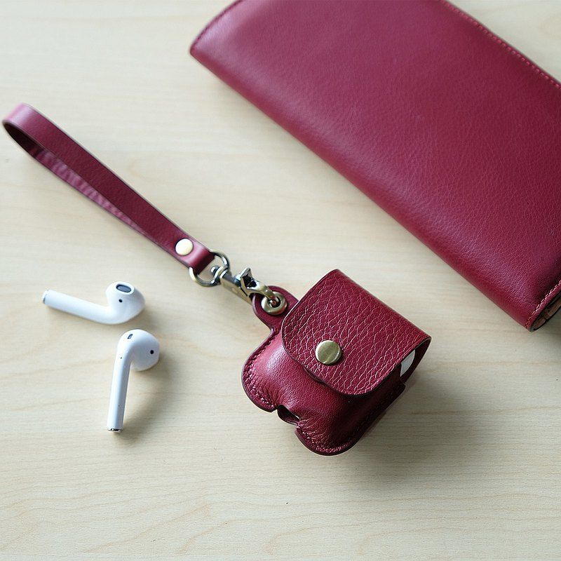 AirPods 1/2 Leather Case - Raspberry Red (Airpods 保護套)