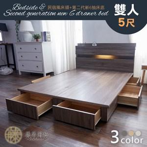 【藤原傢俬】全木芯板新6抽2件式房間組雙人5尺(新6抽床底+2層收納床梧桐