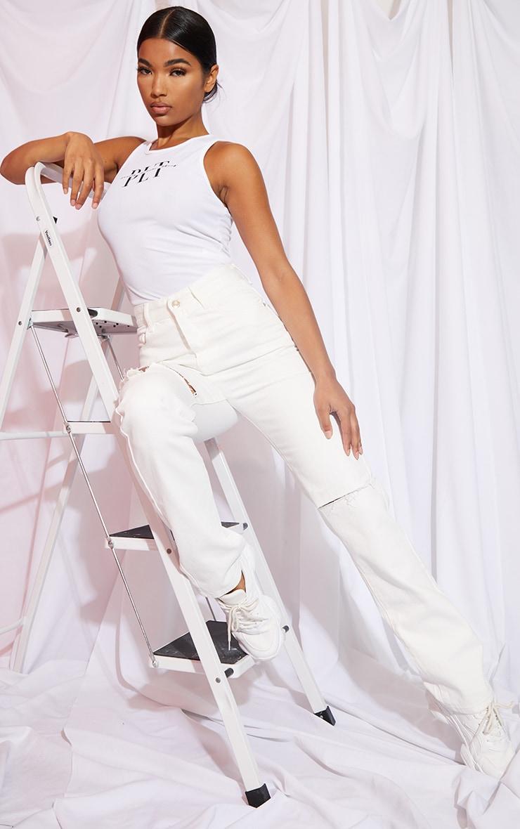 Off White Slash Knee Long Leg Straight Leg Jeans