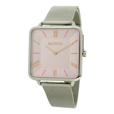 MANGO時尚方型超薄腕錶-粉紅色/32mm
