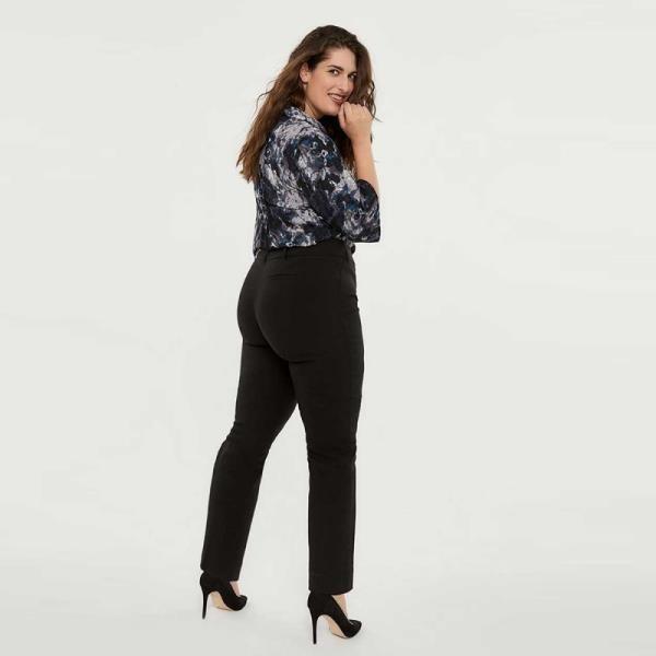 《D'Fina 時尚女裝》 【大尺碼】簡約百搭 直筒修身黑長褲