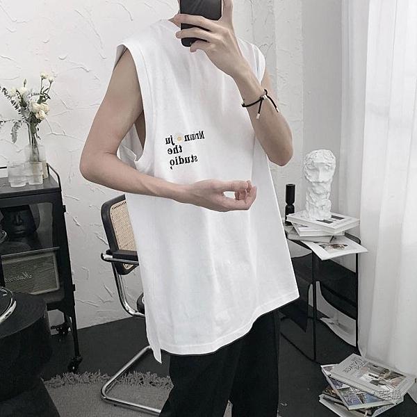 短句先生自制刺繡雛菊字母背心無袖t恤男夏季韓版潮流寬鬆上衣 夏季新品