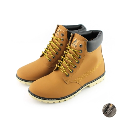 ARRIBA艾樂跑男鞋-皮質高筒休閒鞋-黃/咖啡(FA420)