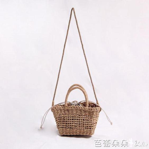 新款韓系時尚鏤空草編包純手工單肩手提編織包度假沙灘女包小