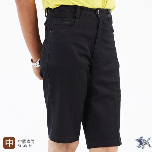 NST Jeans 光澤黑 涼感紗休閒短褲 中腰 393-25923