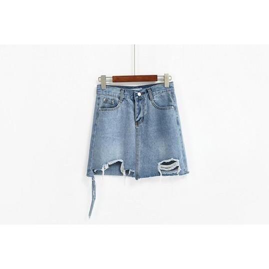 夏季新款不規則高腰a字時尚破洞短裙