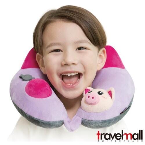 travelmall 兒童款 手動旅行充氣枕 動物造型 - 粉紅豬