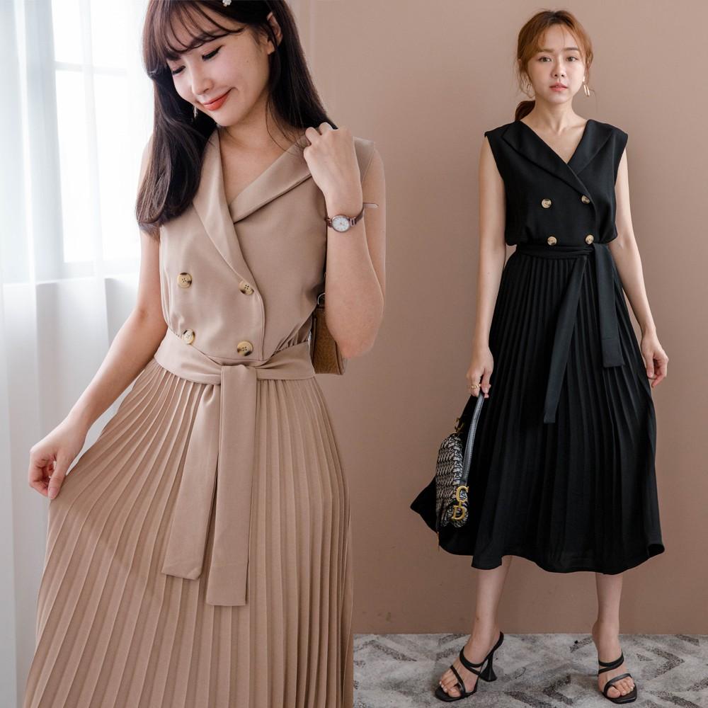MIUSTAR 翻領無袖假四釦綁帶百褶洋裝(共2色)洋裝 連身裙 短袖洋裝 0511 預購【NJ1261】
