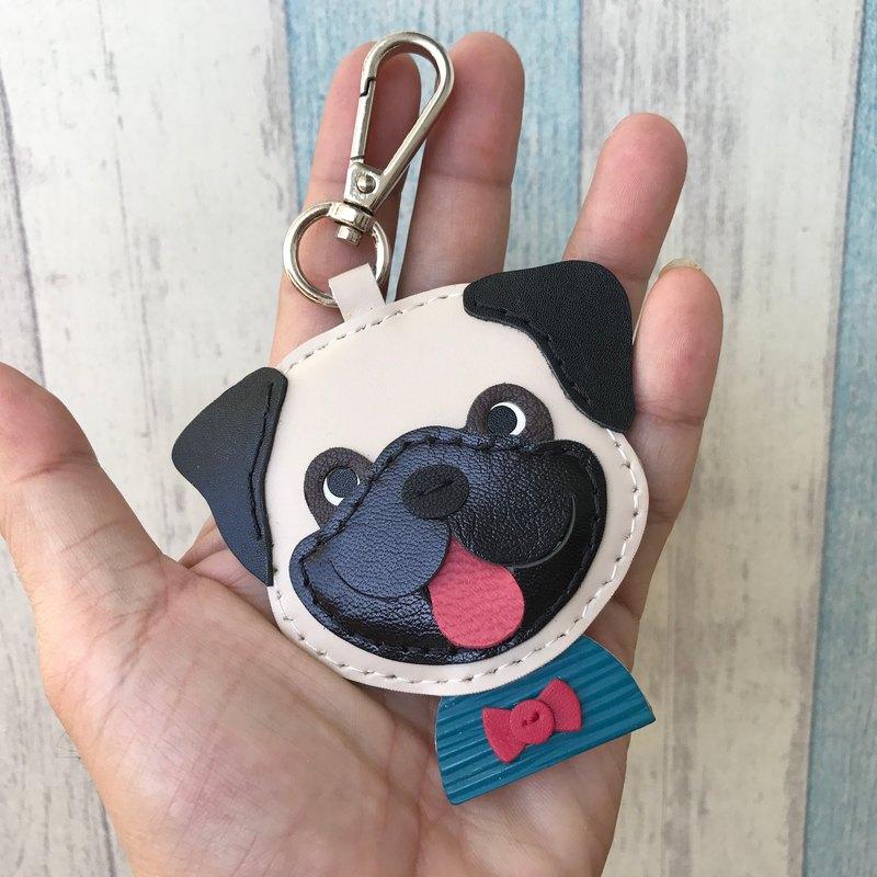 療癒小物 米/黑色 可愛 大頭 八哥狗 純手工縫製 鑰匙扣 小尺寸
