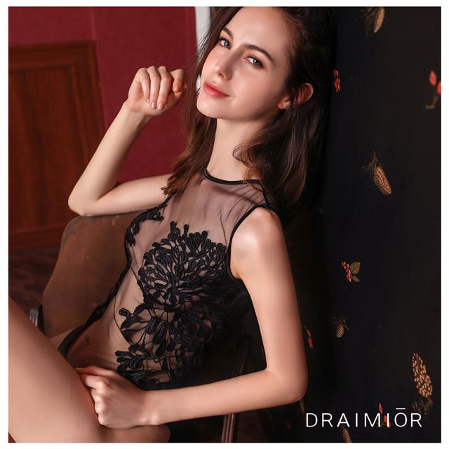 久慕雅黛 DRAIMIOR黑天鵝刺繡蕾絲連體衣