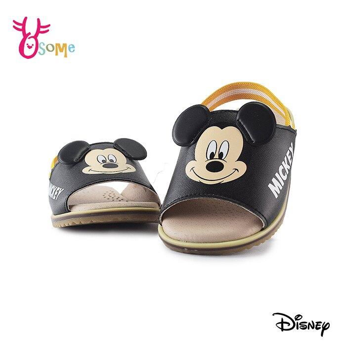 米奇寶寶涼拖鞋 嬰兒涼拖鞋 小童涼拖鞋 舒適軟墊鬆緊帶 迪士尼 MIT台灣製 F5386#黑色◆奧森鞋業