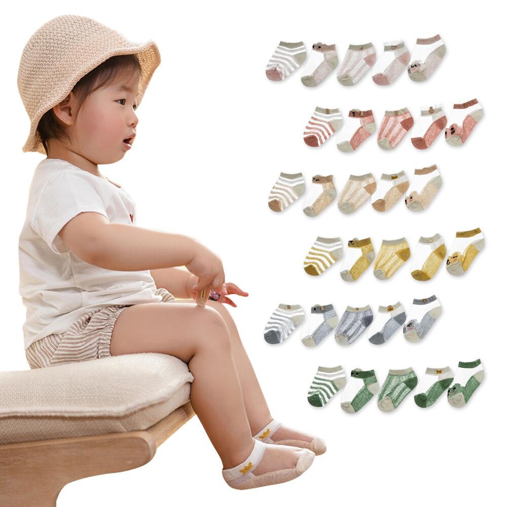 10雙入兒童襪子超薄棉鏤空嬰幼寶寶冰絲船襪-hc2169