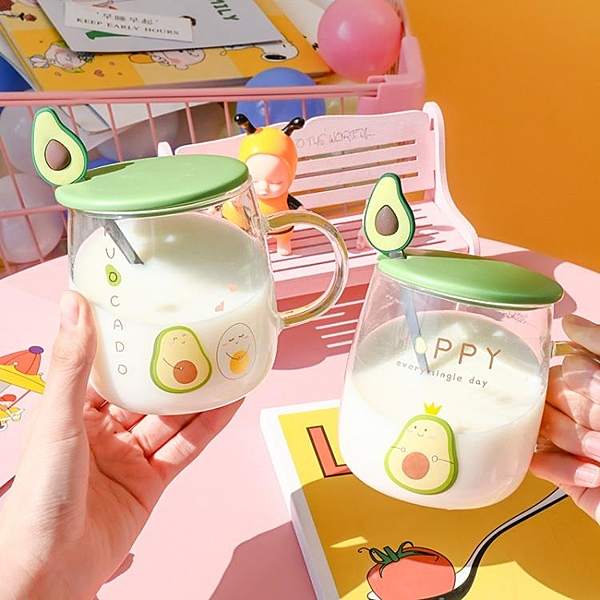 馬克杯 創意牛油果玻璃杯透明帶蓋勺子家用大容量早餐牛奶杯陶瓷馬 晶彩