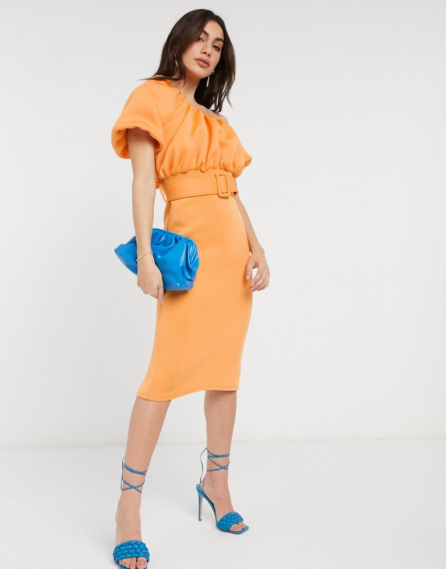 ASOS DESIGN one shoulder bubble neckline belted midi dress in apricot-Orange