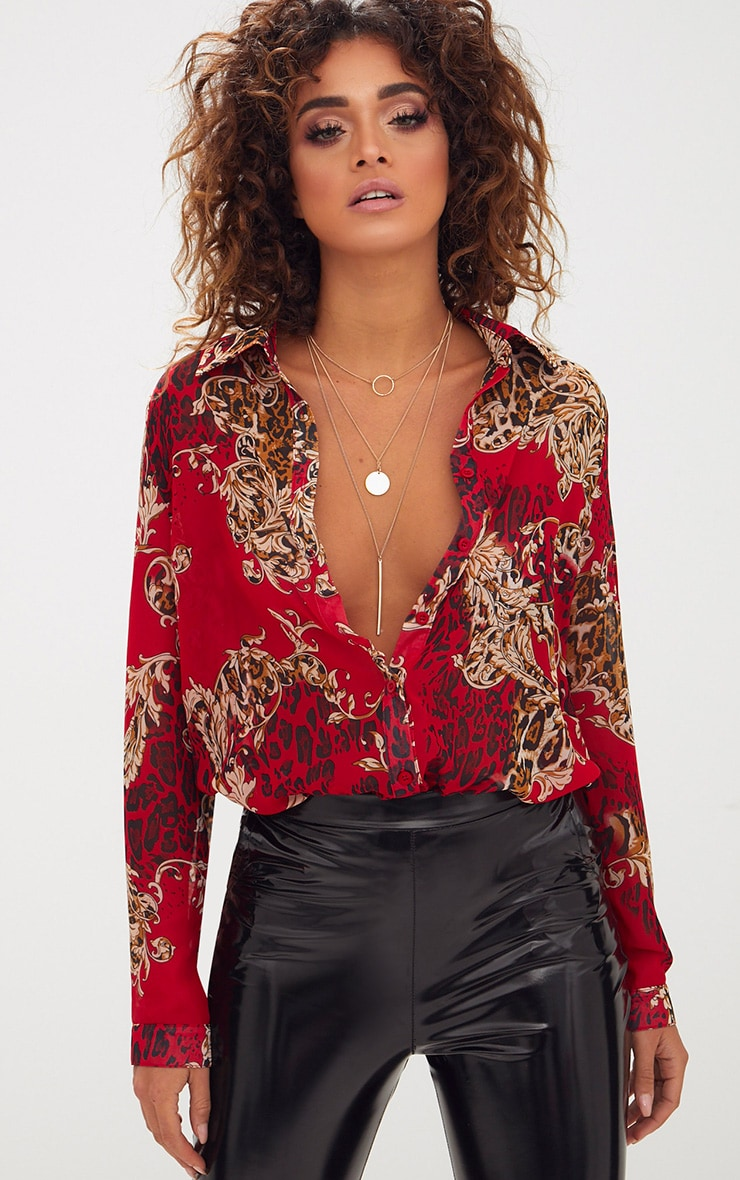Red Baroque Print Chiffon Oversized Shirt