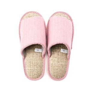 HOLA 簡約直條紋室內拖鞋-粉L