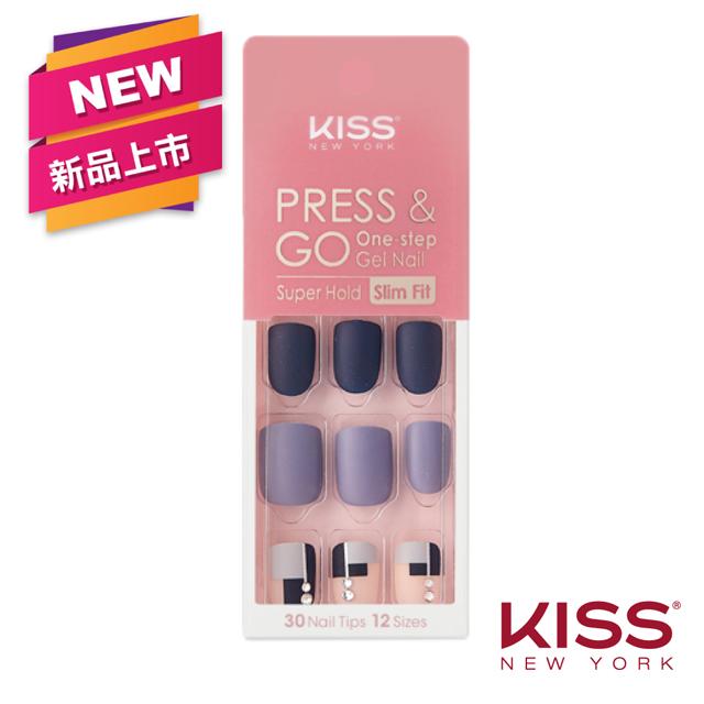 【美國 KISS New York】Press&Go指甲貼片(高冷莫藍迪 KPNS18K)(30片)