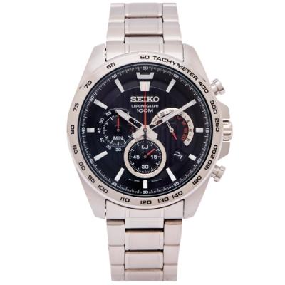 SEIKO 疾風競速風格的計時手錶(SSB299P1)-黑面X銀色/44mm
