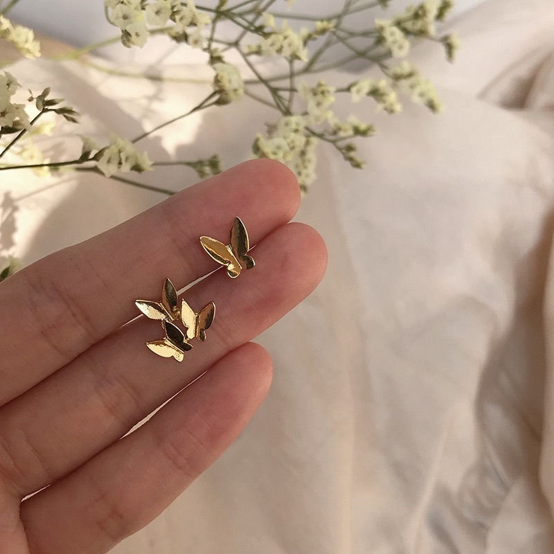S925銀針日韓氣質可愛蝴蝶耳釘女網紅時尚簡約小巧不對稱耳環 C288