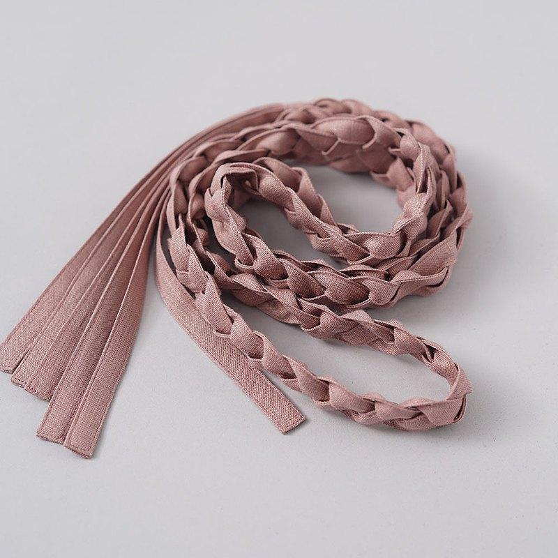 wafu-[Braid/Suoukou] 100%麻編織流蘇腰帶 收腰/z022b-sok1