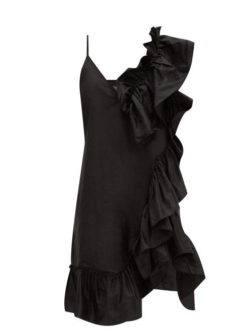 Marques'almeida - Asymmetric Ruffled Silk-tafetta Dress - Womens - Black