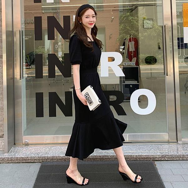 韓國製.經典優雅方領收腰公主短袖魚尾長洋裝.白鳥麗子