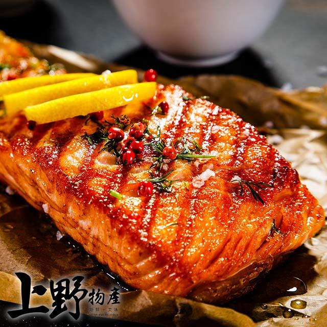 【上野物產】不吃人工飼料純正天然阿拉斯加鮭魚 ( 100g土10%/片 ) x20片