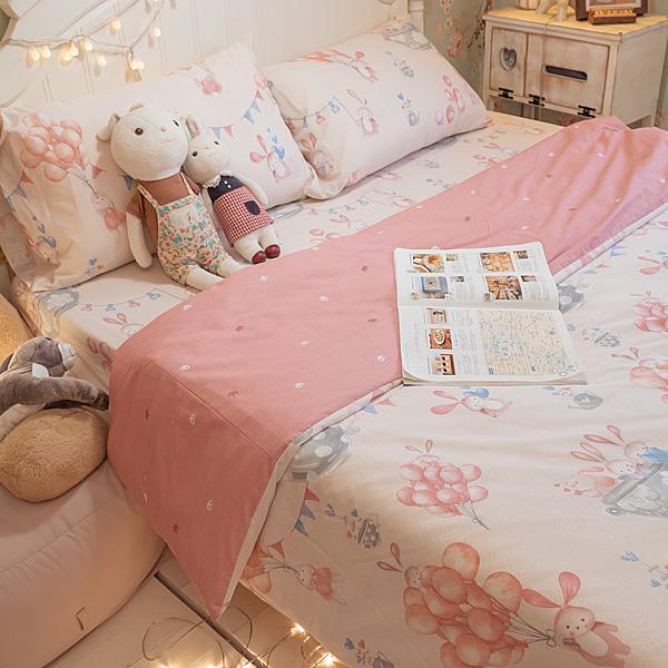 樂園氣球兔 D1雙人床包三件組 100%精梳棉 台灣製