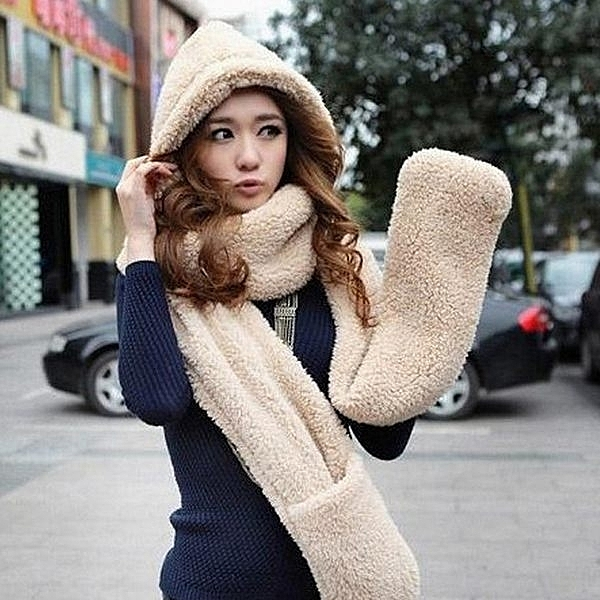 Qmishop 韓版秋冬 圍脖可愛雙層加厚絨圍巾 帽子 手套三件式【QG1733】