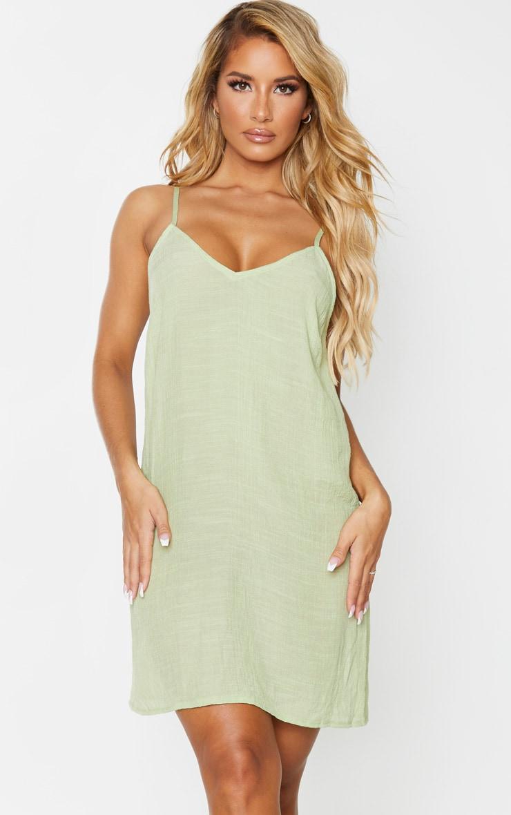 Sage Green Linen Look Strappy Cami Beach Dress