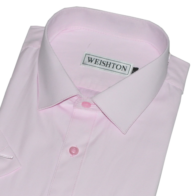 WEISHTON韓版修身抗皺襯衫,短袖款,W161粉底粉斜紋