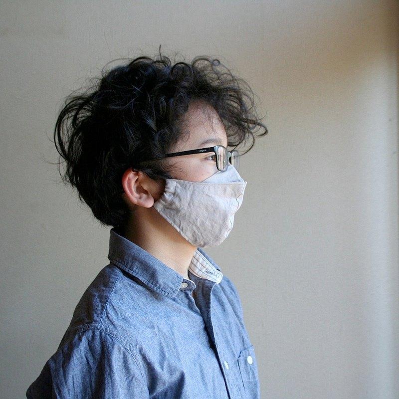 [尺寸M]眼鏡不霧的亞麻口罩[灰色]純亞麻口罩