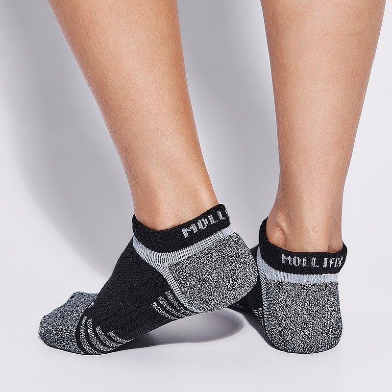 【Mollifix】氣墊運動短襪 (黑)