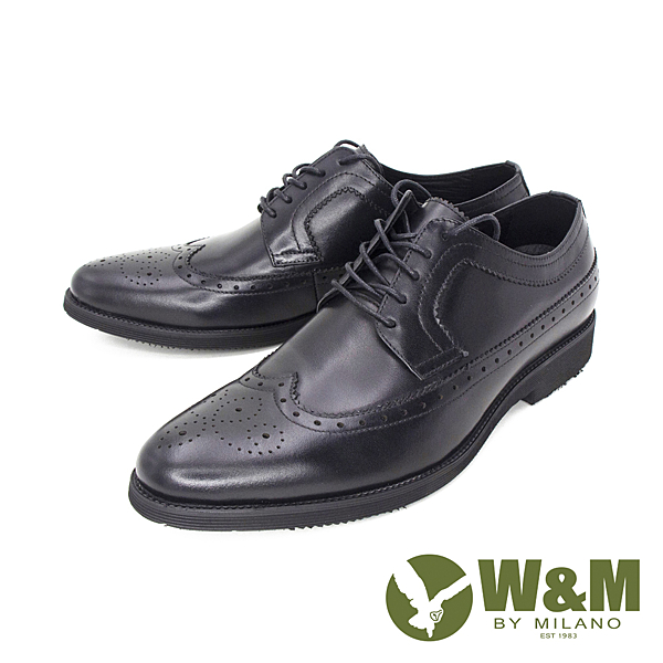 W&M(男) 真皮牛津雕花皮鞋 男鞋 - 黑(另有咖)