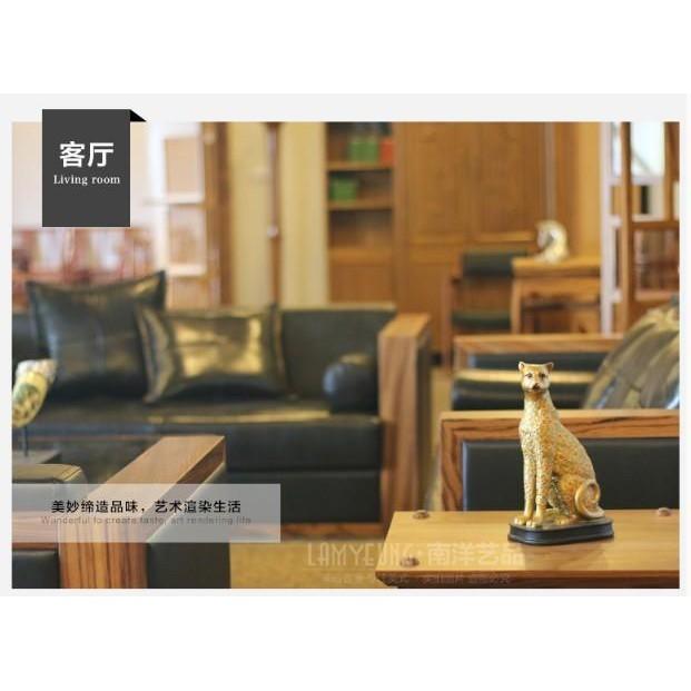 歐式招財花豹創意辦公桌客廳電視櫃書房玄關家居裝飾品開業小擺件