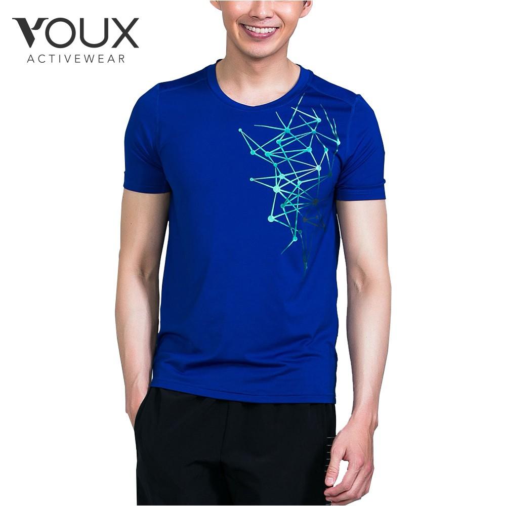 【VOUX】男抑菌抗臭炫光運動上衣(藍/灰S-XL)