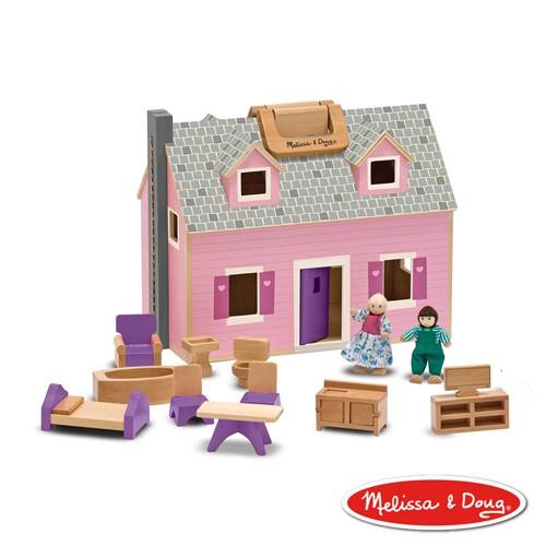 【Melissa & Doug 美國瑪莉莎】小折原木娃娃屋, 溫馨別墅
