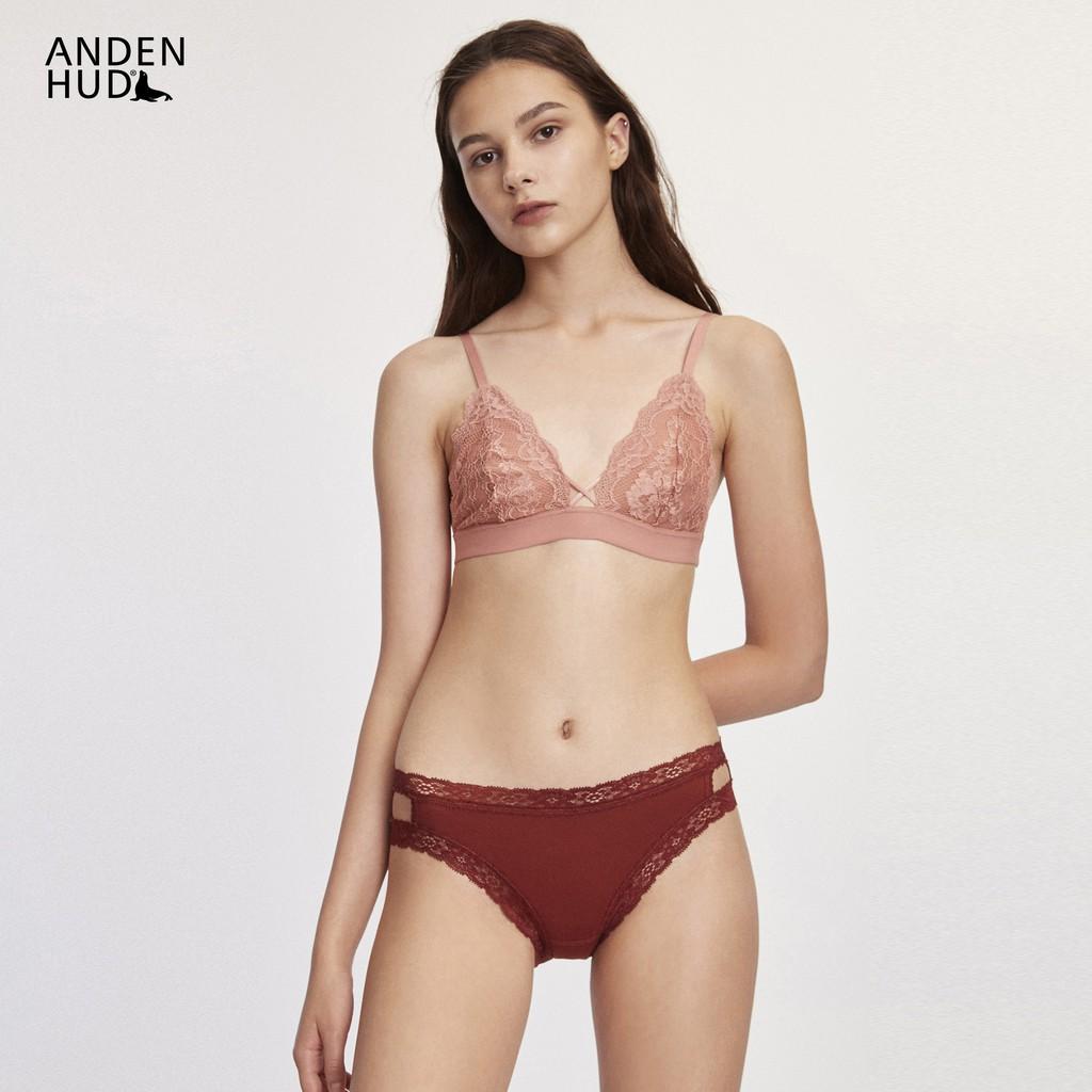 【Anden Hud】荼蘼.織帶簍空中腰三角內褲(赤土紅) 台灣製