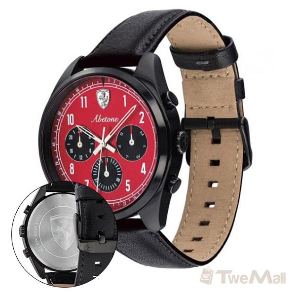Ferrari 法拉利 真皮錶帶 男錶/手錶/腕錶(黑x紅)
